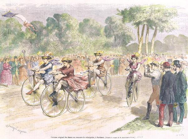 Fahrradrennen 1868 in Bordeaux Frauen in Original Kleider